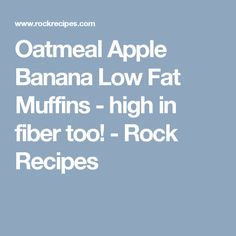 Oatmeal Apple Banana Low Fat Muffins - high in fiber too! - Rock Recipes