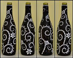 Black and white mosaic wine bottle by Meaco's Art Garden, attrative poster art Wine Bottle Corks, Glass Bottle Crafts, Diy Bottle, Glass Bottles, Mosaic Crafts, Mosaic Art, Mosaic Glass, Glass Art, Stained Glass
