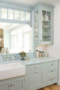 Gray Kitchen Cabinets with Farmhouse Sink