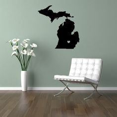 Vinyl Wall Decal Sticker Personalized // Michigan // Heart of the State. $30.00, via Etsy.