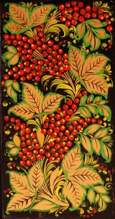 Folk Khokhloma painting from Russia. Pattern with berries.