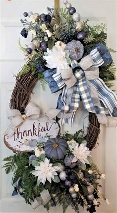 Blue Fall Pumpkin Wreath-with cream/gold accents on grapevine Diy Wreath, Grapevine Wreath, Tulle Wreath, Burlap Wreaths, Ribbon Wreaths, Wreath Making, Wreath Ideas, Deco Mesh Wreaths, Holiday Wreaths