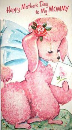 Vintage pink poodle Mother's Day card