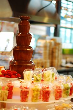 chocolate fountain & fruits