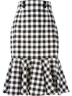 Black and white cotton check ruffle skirt from Dolce & Gabbana featuring a high waist, a front button fastening, a rear zip fastening and a ruffled hem. by farfetch African Fashion Dresses, African Dress, Ruffle Skirt, Dress Skirt, Frilly Skirt, Pleated Skirts, Cotton Skirt, Swing Dress, Sheath Dress