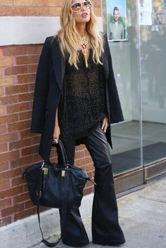 This Is It — A Look Back at the Year's Best Street Style : Rachel Zoe worked leather pants in an edgy flared silhouette.