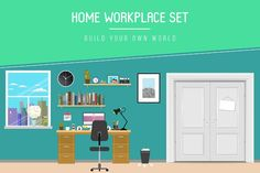 Flat Home Workplace Set vector by Blogoodf on @creativemarket