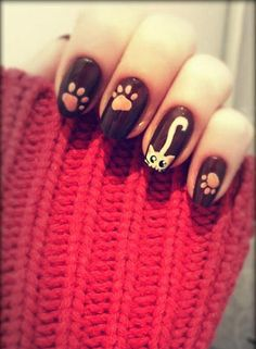 MEOW! 40 Kitty Cat Nail Designs Re-Pinned by #conceptcandieinteriors #nails #cats  I love cats!!!!!