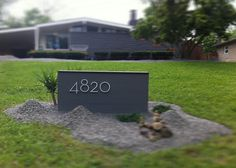 Exterior Captivating-Mid-Century-Modern-Landscaping-with-mid-century-modern-mailbox-design-ideas Modern Mailbox Post Design Ideas Modern Landscape Design, Modern House Design, House Numbers Modern, House Number Signs, House Landscape, Mid Century Modern Landscaping, Modern Mailbox, Mid Century Exterior, H & M Home