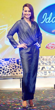 Sonakshi Sinha in a cool blue jumpsuit at the launch of Indian Idol Junior. #Bollywood #Fashion #Style #Beauty