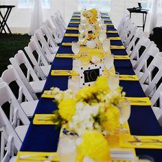 Navy and yellow wedding centerpieces, spring weddings, diy wedding decorations, wedding receptions, wedding tables Wedding Table Decorations, Wedding Themes, Wedding Centerpieces, Wedding Colors, Wedding Ideas, Floral Centerpieces, Yellow Party Decorations, Wedding Venues, Wedding Poses
