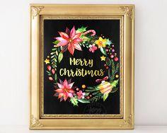 Christmas print, Christmas wreath, chalkboard printable, Merry Christmas print…