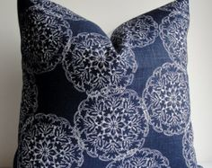 long in front 12 x Decorative Pillow Cover -JOHN ROBSHAW Designer - DURALEE - WoodBlock Print - indigo blue - throw pillow - accent pillow - navy pillow Red Throw Pillows, Blue Throw Pillows, Floral Pillows, Blue Pillow Covers, Pillow Cover Design, Decorative Pillow Covers, Textiles, Designer Pillow, Printing On Fabric