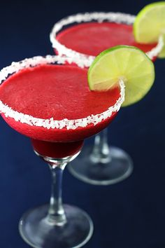 Blackberry Lime Margarita:  1 cup fresh blackberry juice   1 cup100% agave blanco tequila  2/3 cup fresh lime juice  1/2 cup Grand Mariner or Cointreau  3 Tbsp. simple syrup (optional)  ice cubes and lime slices