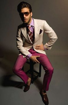 Dapper color combo! raspberry pants, tan jacket