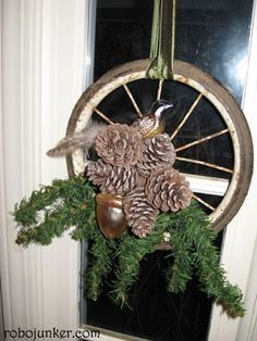 Bike Tire w/ Pine Cones  Just tooo cute!   DIY Craft Projects Christmas - Trash to Treasure