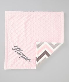 Take a look at this The Minky Boutique Gray Zigzag & Pink Personalized Minky Security Blanket on zulily today!