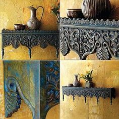 Rajasthani Carved Wood Indian Shelf at World Market. Can 59 people please order this? Why: nomadicdecorator…. Carved Wood Wall Art, Wood Art, Ethnic Decor, Boho Decor, Indian Interiors, Indian Furniture, Indian Architecture, Indian Homes, Geek Decor