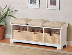 White Storage Bench w/ Cushions