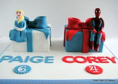 Spiderman and Elsa cake