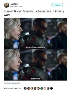 I get this is a joke, but can we appreciate how only the Russos get Natasha's character, and this simple line so beautifully proves it.