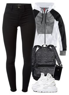 """hello"" by daisym0nste ❤ liked on Polyvore featuring H&M, Victoria's Secret, J Brand and NIKE"