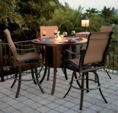 Bar height fire pit table set sevenstonesinc 53 best bar height patio furniture images on pinterest decks genuine bar height fire pit table watchthetrailerfo