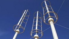 Shorter vertical-axis wind turbines placed in a tight array can be at least 10 times as efficient at capturing the wind power in a given area.