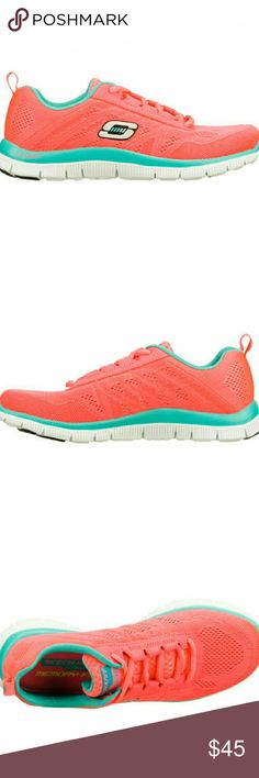 Skechers Flex Appeal Sweet Spot Womens Brand new with box. Hot pink with turquoise. Memory foam Skechers Shoes Athletic Shoes