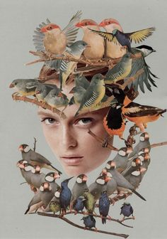 "'A train nowhere drives it after"" collage 2013 Emmanuel Chaussade. I thought it was cool how the train tracks go through her body. Collage Foto, Face Collage, Soul Collage, Nature Collage, Collage Portrait, Collage Collage, Portraits, Collages, Collage Artists"