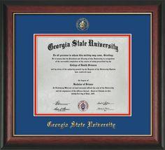 GSU Diploma Frame - Rose Gold Lip - w/GSU Seal - Royal Blue on Red mat – Professional Framing Company
