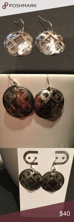 """.999 Sterling Silver Celtic Shield Earrings A-1-20 Antiqued 1"""" Celtic Shield Earrings handmade from 20 gauge .999 Sterling Silver sheet.  Hammered, Etched and black patina finish creates the beautiful old look.  Sterling Silver dangle wires. H M Simon Creations Jewelry Earrings"""