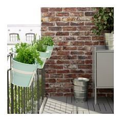 IKEA - SOCKER, Plant pot with holder, You can hang the flower box and plant pot from a balcony rail and create a decorative garden, even on a small space.