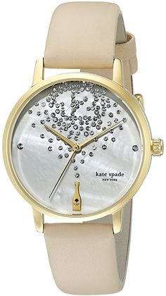 kate spade new york Women's KSW1015 Metro Watch With Beige Leather Band and champagne bottle with rhinestone bubbles.