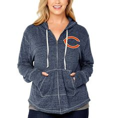 Los Angeles Chargers Soft as a Grape Women s Plus Size Shadow Full-Zip  Hoodie - Heathered Navy 4824daec9