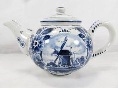 shopgoodwill.com: Vintage Blue White Delft Holland Teapot