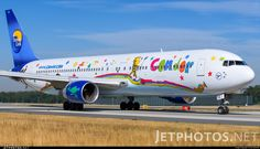 Condor (DE) Boeing 767-330(ER) D-ABUE aircraft, painted in ''Heart of Children'' special colours Jan. 2013 - Oct. 2015, with Thomas Cook Markings, skating at Germany Frankfurt am Mein (Rhein-Main) International Airport. 16/08/2013.