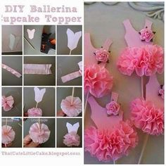 party dress cupcake toppers by Ballerina Birthday Parties, Diy And Crafts, Paper Crafts, Diy Party, Cupcake Toppers, Paper Flowers, Decoration, Handmade, Rainbow Tutu