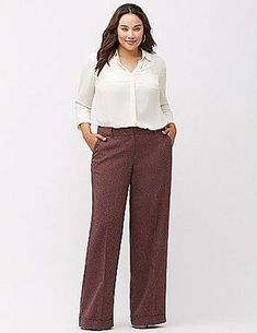 cool How to wear plus size tweed pants in flattering ways Work Fashion, Curvy Fashion, Plus Size Fashion, Plus Size Interview Outfits, Plus Size Outfits, Look Plus Size, Plus Size Women, Tweed Pants, Look Office