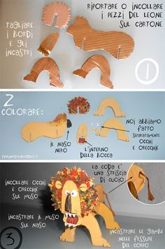 paper lion tutorial. Original page in Italian, will have to translate. There is a link to the pattern for the pieces.