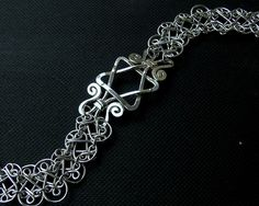 Sterling silver Star of David handcrafted filigree double mesh bracelet