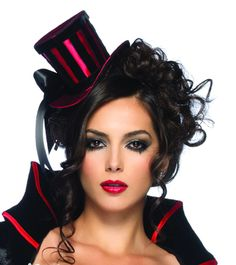 Leg Avenue Costume Accessories 2102 - Deluxe Red Satin & Black Velvet Striped Top Hat with Satin Bow Accent
