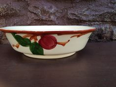 Franciscan APPLE  Serving Footed Bowl Vegetable - Vintage Embossed Hand Painted Earthenware / Flying F Interpace USA by ThePinkVintageRose on Etsy