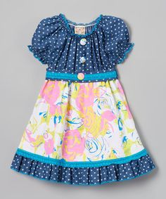 Loving this Denim & Light Pink Floral Peasant Dress - Toddler & Girls on #zulily! #zulilyfinds