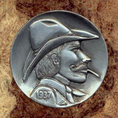 Bob Finlay - Drover Hobo Nickel, Western Theme, Art Forms, Sculpture Art, Buffalo, Cactus, Coins, Bob, Miniatures