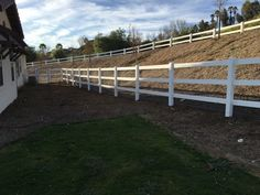 Ranch Style 3 rail Vinyl Fence with chain link attached Temecula Ca.