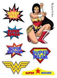 Wonder woman Girl Superhero Party, Wonder Woman Birthday, Wonder Woman Comic, Cake Banner, Dc Comics Art, Lol Dolls, Disney Scrapbook, 16th Birthday, Silhouette Design
