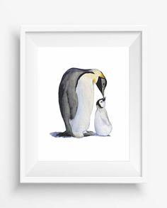 Watercolor Mother and Baby Penguins,Penguins print,Alaska wall art,digital…