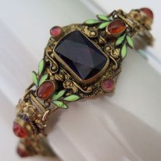 Vintage Art Deco Czech Amethyst Givre Glass Enamel Neiger Bros. Bracelet
