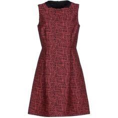 Blue Les Copains Short Dress ($71) ❤ liked on Polyvore featuring dresses, fuchsia, short sleeveless dress, fuchsia dress, red mini dress, swing dress and zip dress